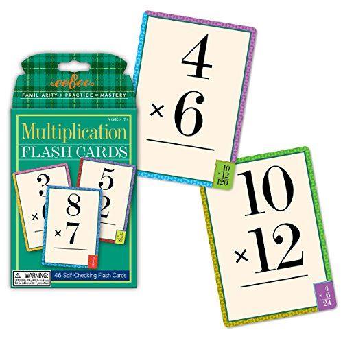eeBoo Multiplication Flash Cards, facts 0-12