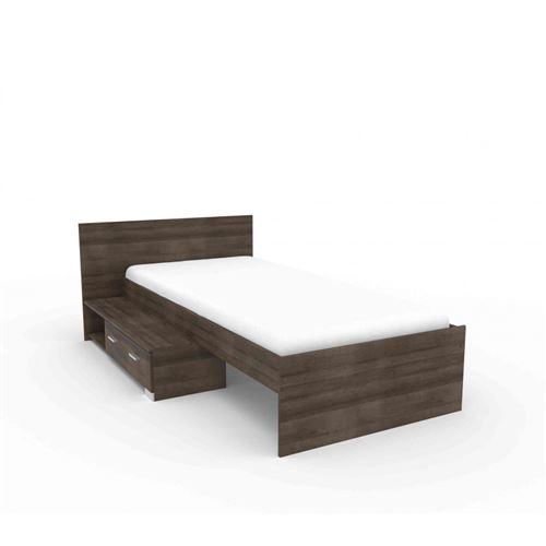 Lit en bois imitation noyer avec tiroir 90x200 - LT1023 - Terre de Nuit