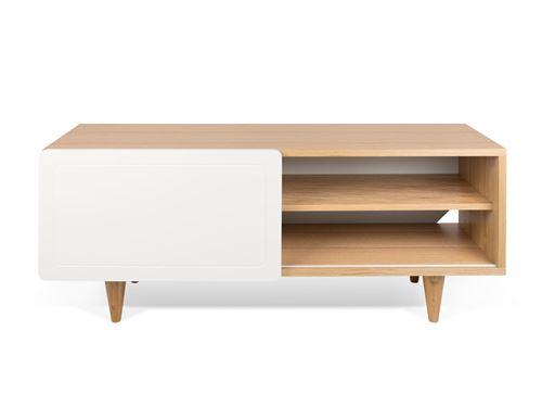 Meuble TV plaqué chêne et porte coulissante blanc mat L 120 cm NYLA