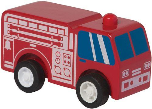 Manhattan Toy camion de pompiers Rescue pull-back 9 cm bois rouge