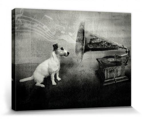 Chiens Poster Reproduction Sur Toile, Tendue Sur Châssis - His Master's Voice, Jack Russell Terrier (30x40 cm)