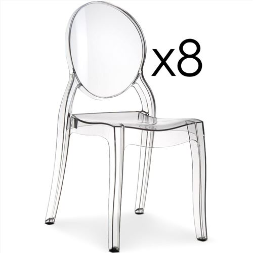Lot de 8 chaises médaillon Diva Plexi Transparent
