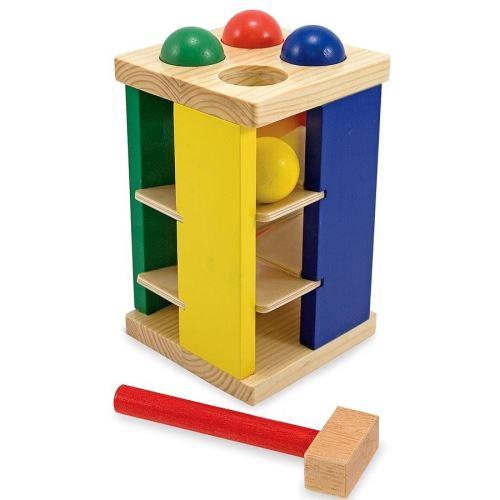 Jouet en bois éducatif Tour avec marteau et 4 boules 2 ans +