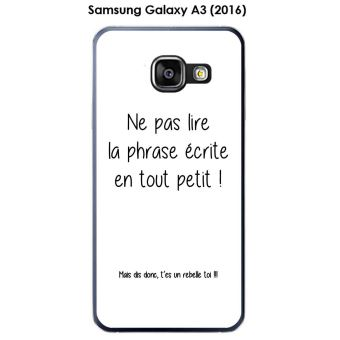 Coque Samsung Galaxy A3 (2016) - A310F design Citation Rebelle Texte noir fond blanc