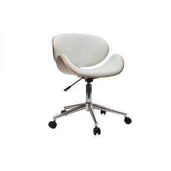 10 Sur Chaise De Bureau Design Pu Blanc Et Bois Clair Walnut