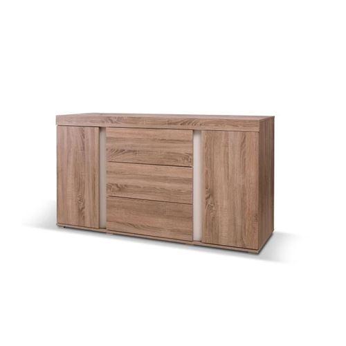 Buffet, bahut, enfilade AVIGNON deux portes, trois tiroirs. Coloris sonoma et blanc. Meuble design pour salon, salle à manger.
