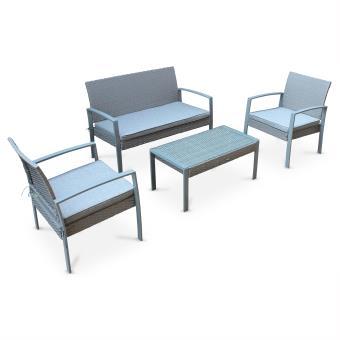 Ensemble de jardin en résine tressée Vicenzo, salon 4 places gris, coussins  gris chiné, fauteuil canapé table basse - Alice\'s Garden