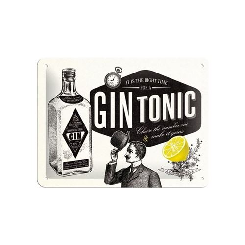 Gin Tonic Cocktail plaque décoration vintage rétro - 20 x 15 cm