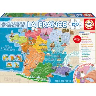 jeux carte de france Puzzle enfant   carte de france : les departements et regions