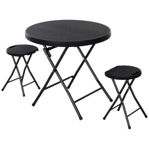 Ensemble de jardin pliable 2 pers. 3 pièces ensemble bistro style contemporain 2 tabourets + table ronde Ø 80 cm métal HDPE imitation rotin noir