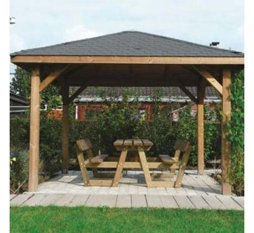 Kiosque de jardin 12,04 m² Solid Longueur : 3.47 m, Largeur : 3.47 m A  visser bois