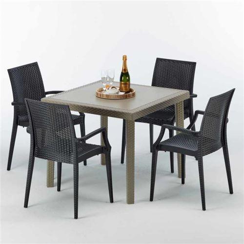 Table carrée beige + 4 chaises colorées Poly rotin synthétique ELEGANCE, Chaises Modèle: Bistrot Arm Anthracite noir