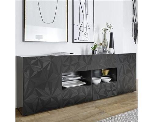 Enfilade design gris laqué 2 portes 4 tiroirs PAOLO 3 - L 241 x P 42 x H 84 cm