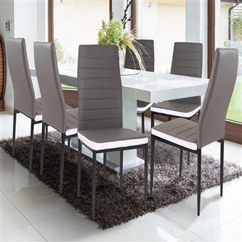Lot de 6 chaises ROMANE grises bandeau blanc pour salle à manger