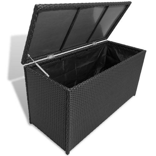 Boîte de rangement de jardin Noir 120x50x60 cm Résine tressée alsa