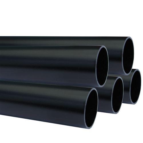 Lot de 5_Tube aluminium anodisé longueur 100 cm Ø 30 mm Noir