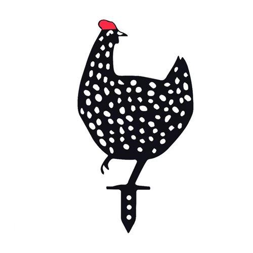 5Pcs Décoration de jardin poulet noir Art de cour Ornements insert de carte