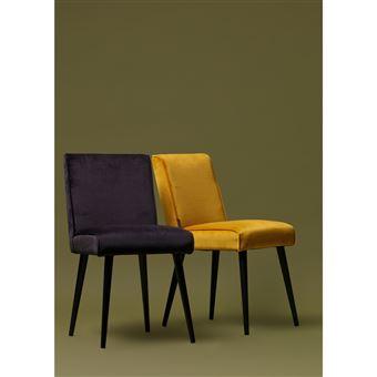 Lot de 2 chaises design en velours Sara Couleur
