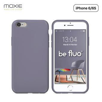 Coque iPhone 6 6S Moxie BeFluo Full Protect Coque Silicone Liquide Fine et Legere Anti chocs et Anti rayures Gris Lavande