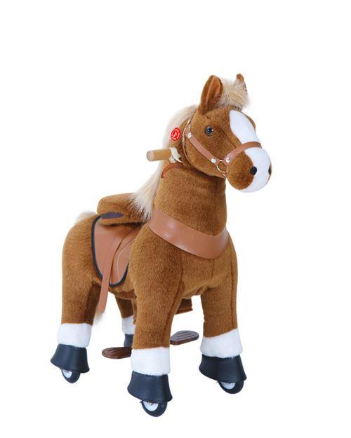 PonyCycle Poney à monter Marron avec sabot blanc Petit Modèle pour 3 à 5 ans
