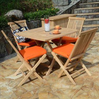 Table de jardin en Teck Pliable 90 x 90 cm - Cardif ...