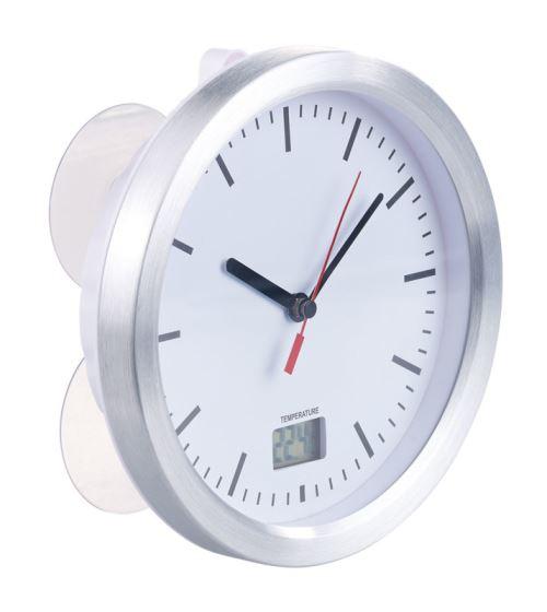 Horloge radio-pilotée de salle de bains avec thermomètre LCD intégré