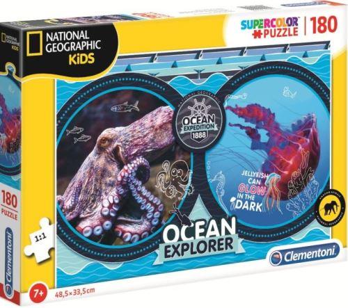 Puzzle 180 pieces animaux marins : poulpe et meduse - puzzle enfant - collection national geographic