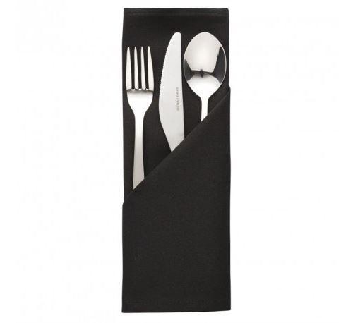 Serviette noire en polyester 510 x 510 mm - x 10 -