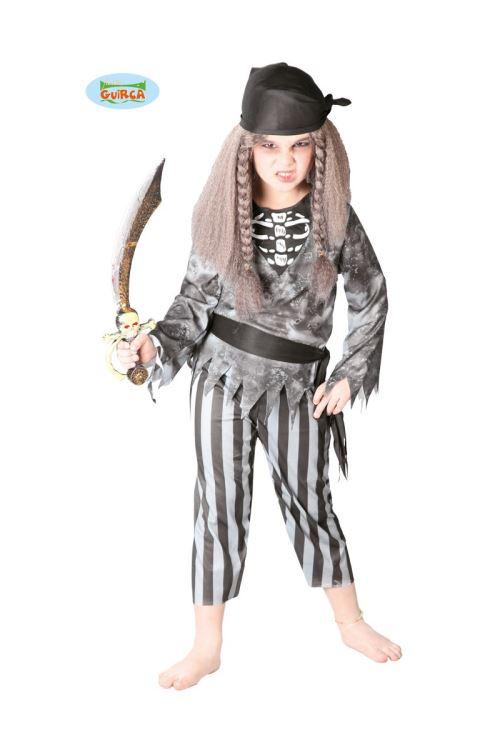 Costume Pirate Fantôme Mort Vivant Enfant 10/12 Ans - Gris