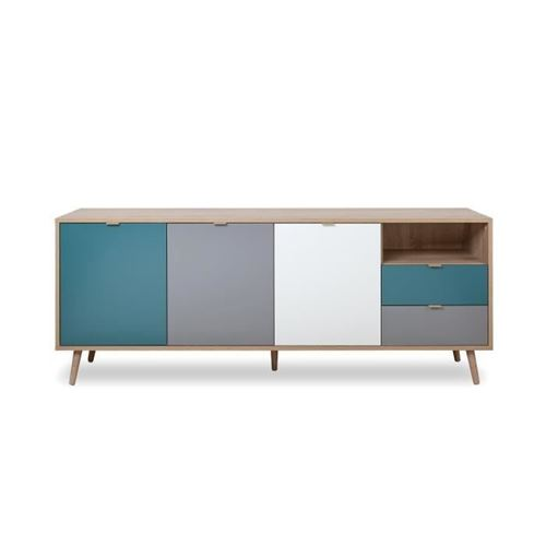 CUBA Buffet bas decor chene sonoma et blanc - Style scandinave - L 180 cm