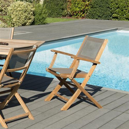 Lot de 2 fauteuils pliants textilène couleur taupe en bois teck grade A