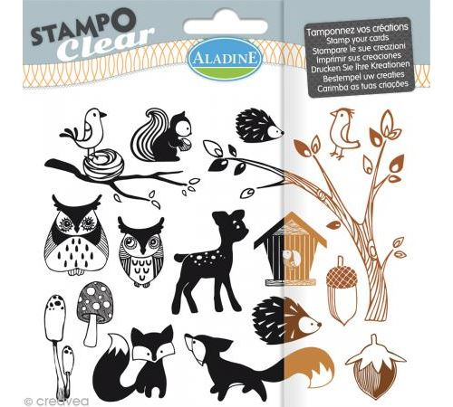 Tampon clear Aladine - Forêt - Planche 15 x 12,5 cm - 16 Stampo'clear