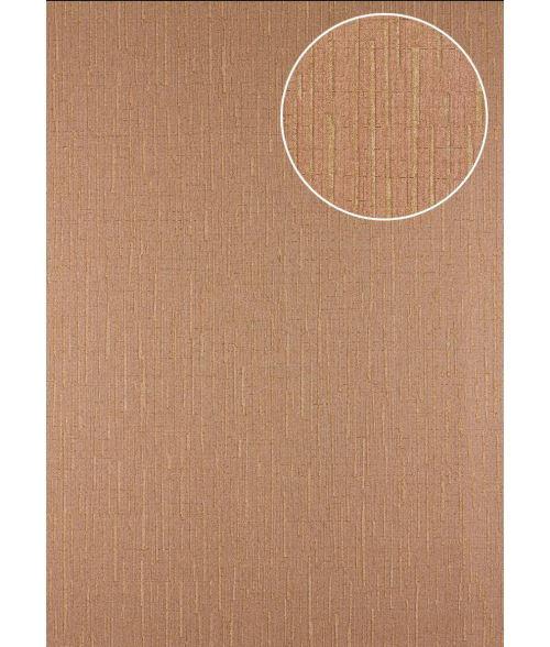Papier peint à motifs graphiques Atlas 24C-7505-8 papier peint intissé texturé avec un dessin abstrait et des accents métalliques brun brun-beige cuivré 7,035 m2
