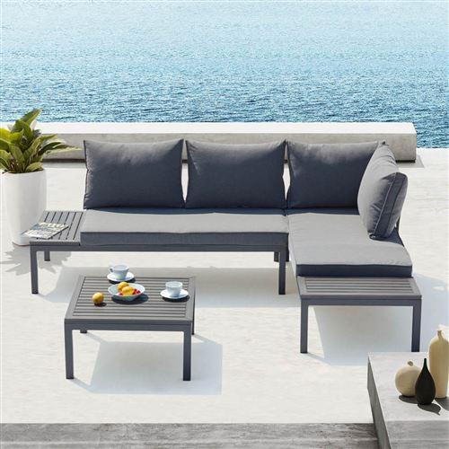 Lolea - Salon de jardin aluminium et acier Gris Foncé