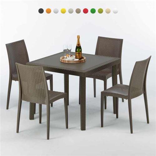 Table carrée et 4 chaises colorées Poly-rotin résine 90x90 marron, Chaises Modèle: Bistrot Marron Moka