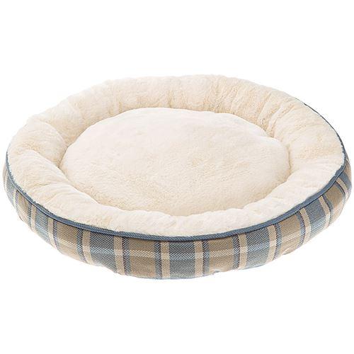 Ferplast couchage rond pour chiens et chats LAGOON 50, coussin pour animaux, fourrure douce et écologique, lavable, Ø 53 x 10 cm, bleu