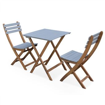Table de jardin en bois 60x60cm - Barcelona Bois / Gris clair Alice\'s Garden