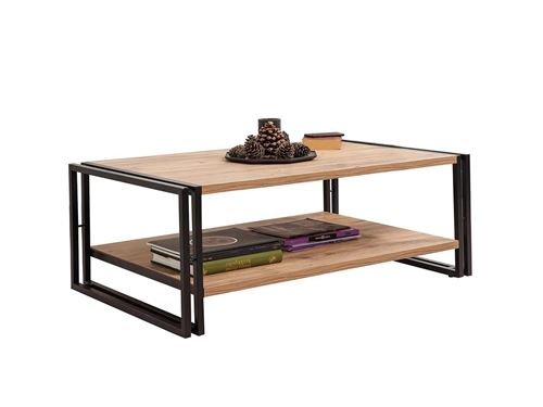 SUBLEEM Table basse 110 cm TENGA Pin Atlantique et Noir