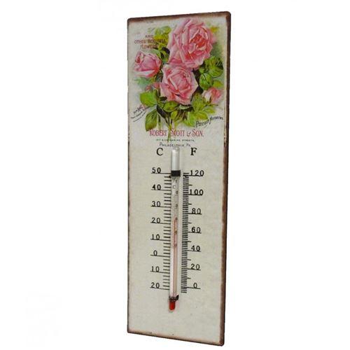 L'Héritier Du Temps - Thermomètre mural décoratif en celsius et farenheit ou à poser motif 'floral vintage' en fer et papier vernis 0,5x8x25cm