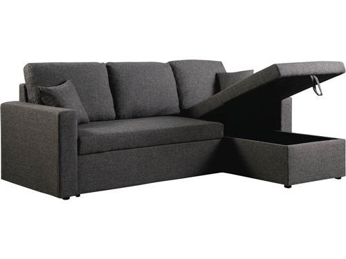 canapé d'angle convertible alain - 221 x 145 x 85 cm - 3 places - gris