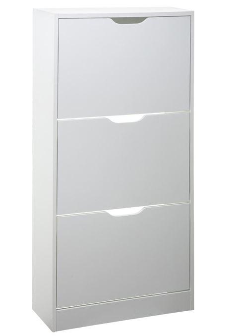 Meuble à chaussures coloris blanc - L.60 x P.24 x H.118 cm -PEGANE-