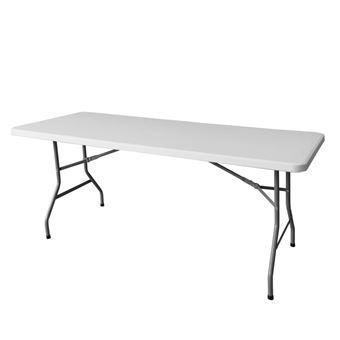 Table de jardin pliante 183cm plastique blanc