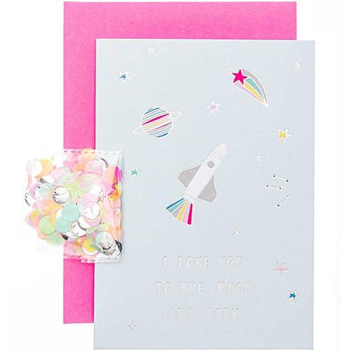 Kit carte anniversaire à personnaliser - Rico Design Wonderland - Fusée - 12,5 x 17,5 cm