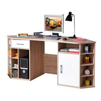 15 sur bureau d angle meuble informatique nombreux rangement grande surface d cor ch ne. Black Bedroom Furniture Sets. Home Design Ideas