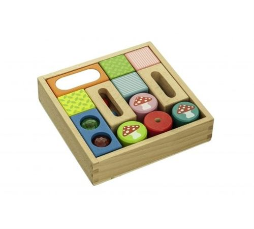 Everearth Boîte à bloc en bois avec cloches de miroir multicolore 18 cm