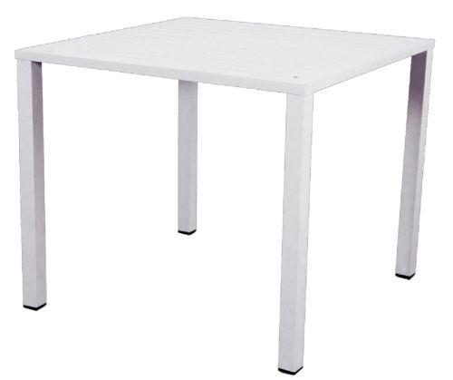 Table En Aluminium Sable Blanc - Dim : 80 × 80 Cm -Pegane-