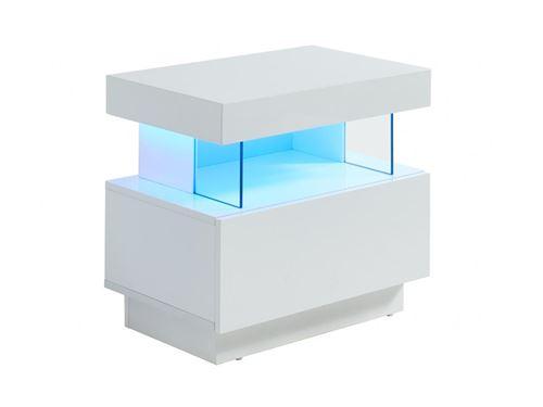 Table de chevet FABIO - MDF laqué blanc - LEDs - 1 tiroir et 1 niche
