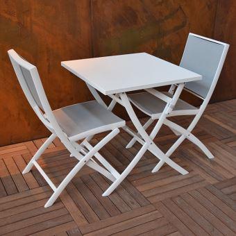 Table pliante carrée en alu blanc 70 x 70 cm Grace ...