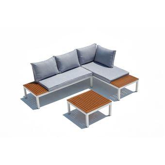 Lolea - Salon de jardin aluminium et acier Blanc & Gris