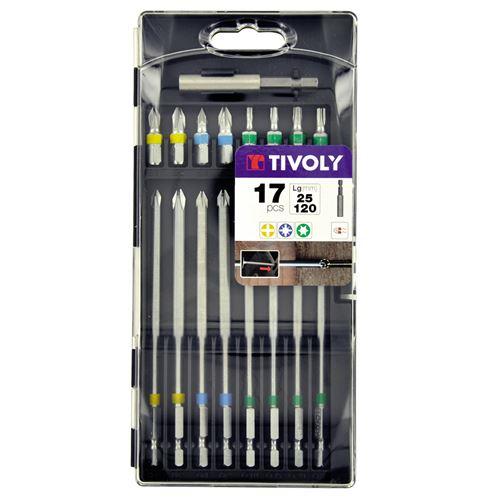 Coffret de 17 embouts de vissage TIVOLY extra longs pour accès difficiles 25 et 120 mm Embouts 25 mm classiques et 120mm
